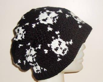 Black hat with cross, skull knit hat for men or women slouchy winter hat knit