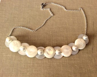 Neutral With Pearls Button Necklace