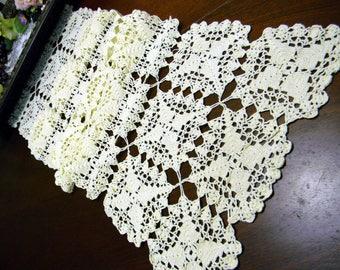 Cream Crochet Runner, Crocheted Table Scarf, Hand Made, Vintage Linens 10099