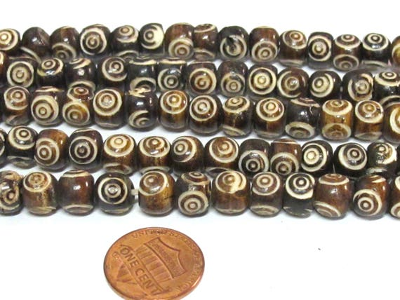 20 beads - Tibetan carved concentric circles dotted brown  color  bone beads 8 mm size - ML106B