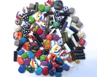 Kazuri Beads, 100 Small Kazuri Beads, Rainbow Coloured Ceramic Beads, Kazuri African Beads No.351