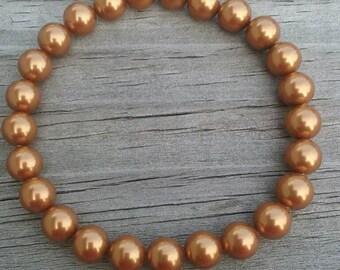 Swarovski Pearl Stretch Bracelet in Copper