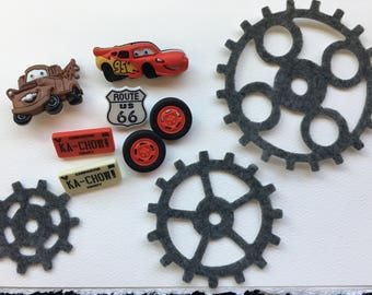 Cars Movie Buttons-Mater-Lightening McQueen Embellishments-Iconic Route 66-Iron On Appliques-Planner Accessories-DIY Maker Kits-Decorations