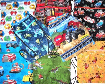 Fabric Covered,Nylon Lined,Drawstring Backpack Back To School,Monster's Inc,Lion King,Disney Planes,Cars Lightening McQueen,,Paw Patrol
