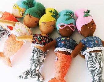 Maude the Mod Mermaid Cloth Rag Doll - Teal Bun / orange tail - Ready to Ship