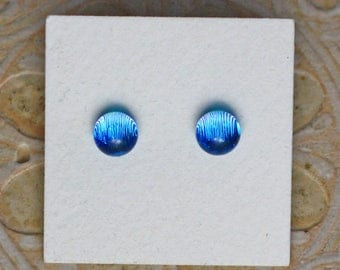 Dichroic Glass Earrings, Petite, Azure Blue  DGE-1280