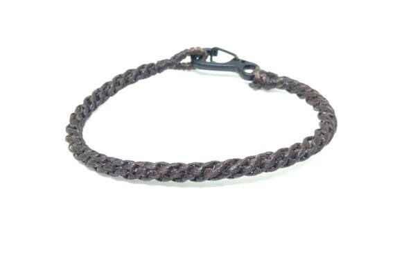 Handcrafted Classic Fair Trade Dark Brown Cotton Weave Thai Friendship Buddhist Wristband Bracelet