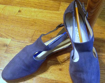 Vintage Women's Dress Blue Suede Shoes Nicole Tango Retro 1940s Flat Heel Ankle Strap Size 7-1/2