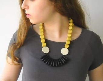 Statement Necklace, big fan necklace yellow and black lightweight necklace, unique necklace for her handmade original jewelry