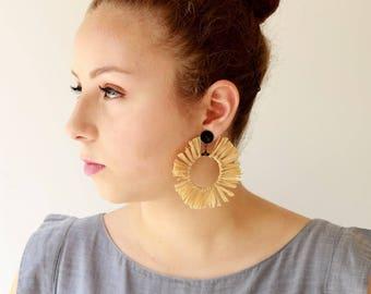 Natural Earrings , Trendy hoop lightweight earrings , statement earrings , Circle tassel Natural Jewelry hippie Sun earrings naama brosh