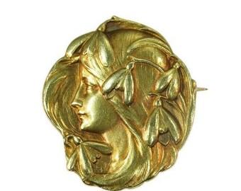 ON SALE Art Nouveau Brooch Antique Yellow Gold Floral Pin Brooch Snowdrops Woman Profile Art Nouveau Jewellery