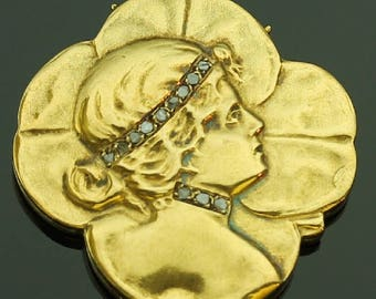Typical Art Nouveau gold shamrock locket pendant woman head on four leaf clover