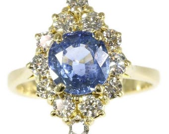 Sapphire ring, natural sapphire ring, blue sapphire ring vintage, marquise engagement ring, diamond engagement ring, sapphire diamond ring