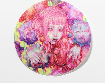 "3.5"" Plasticmoon Konpeito Vinyl Sticker, Pastel Girl Vinyl Sticker, Japanese Fashion Girl, Japanese Fashion Sticker, Harajuku Girl Sticker"