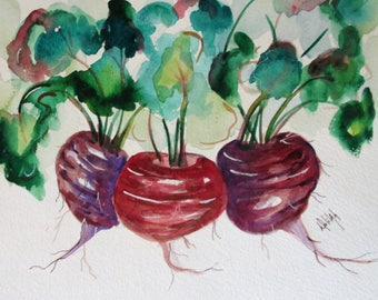 Beets original vegetable still life  watercolor painting Art by Delilah