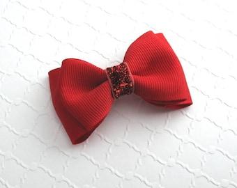 Hair Bow ~ Red Glitter Christmas Girls Toddlers Simple Elegant Non Slip Hair Bow Clip