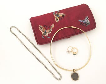 Jewelry Travel Case - Jewelry Storage - Jewelry Travel Organizer - Travel Pouch - Travel Bag - Ring Holder - Jewelry Pouch - Butterfly