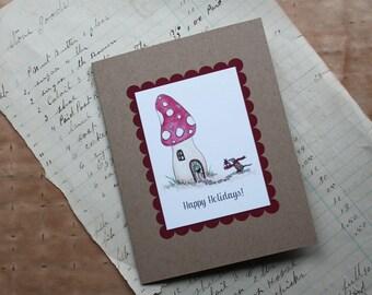 Happy Holidays Mushroom and Shrew Woodland Setting Handmade Greeting Card, Watercolor Print