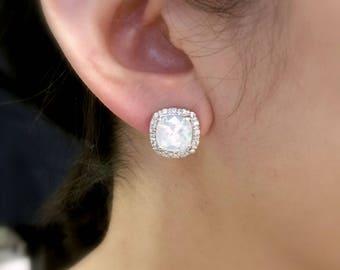 bridal wedding earrings bridesmaid gift square halo cz stud post or clip on rhodium cushion cut swarovski white opal rhinestone crystal