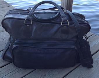 Vintage Black Leather Duffel Bag