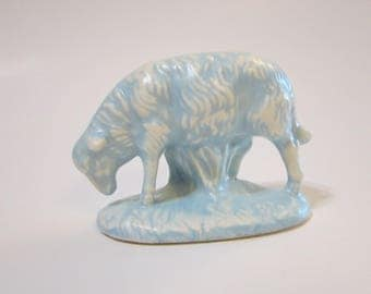 vintage plaster LAMB figurine with light blue glaze