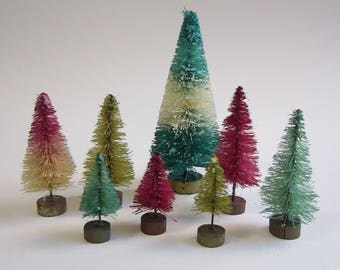 8 miniature bottle brush trees - PINK AQUA and GREEN - miniature sisal trees, putz village trees - vintage inspired bottlebrush trees