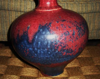vintage Australian Pottery with rasberry and indigo glaze-excellent-SALE