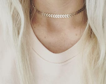 Gold chevron choker,Lana, pretty layering jewelry