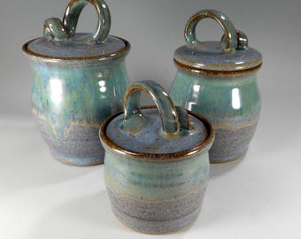 Ceramic kitchen canister storage jars, ceramic canisters, pottery canisters, stoneware jars with lid, pottery storage jars set of 3