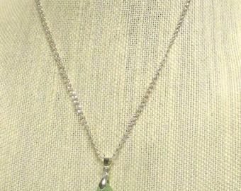 "19"" Silver Plated Chain w/Mint Green Sea Glass Pendant #20542 sea glass necklace"