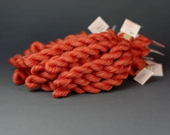 Embroidery yarn, hand-dyed with natural dyes, wool, silk, cashmere thread, cobweb weight, embroidery floss, 20m, MADDER , orange color 308