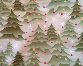 Christmas trees Cotton Quilting Fabric Stars Snowflakes  Winter