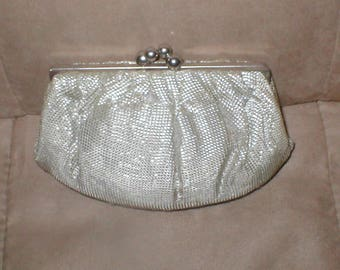 Vintage Silver & Gold Silk Evening Clutch Purse from France
