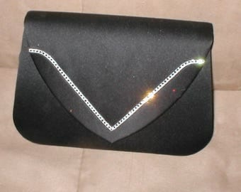 Vintage 1960's Black Silk Clutch Purse