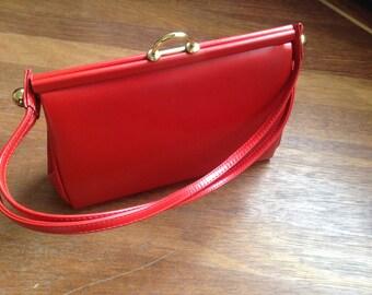 Vintage Handbag, 1950s, Red Leather, Rockabilly