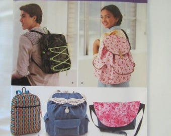 New Uncut Pattern Backpack Messenger Bag Tote Bag  Simplicity -1388- FREE SHIPPING US