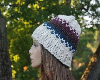 Fair Isle Knit Hat, Blue Brown Plum Fair Isle Hat, Knit Hat, Women's Knit Hat, Men's Knit Hat, Hand Knit Hat, Knit Hat, Chunky Knit Hat
