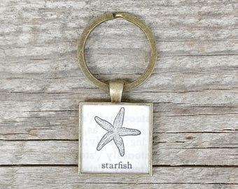 starfish keychain | 1962 vintage encyclopedia image