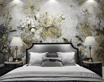 "Oriental Chinoiserie Lotus Flower Carp Fish Lotus Leaf Wallpaper Floral Yellow White Blooms Wall Mural 129.5"" x 93.7"""