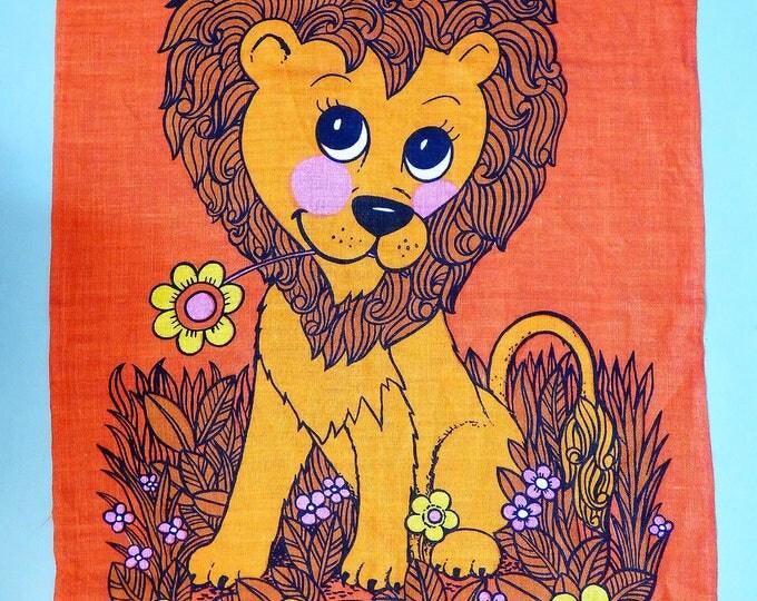 Vintage Lion linen tea towel