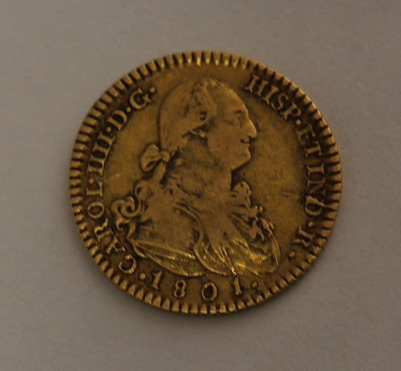 Authentic Spanish Gold 2 Esudos Coin 1801 Charles IV Doubloon