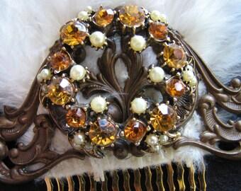 Autumn wedding hair piece | pearl | brass | vintage | orange | brown | hair comb
