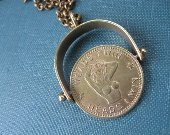 Heads I Win Tails You Lose Naked Lady Vintage Peep Show Token Novelty Coin Pendant with Brass Frame. One of a Kind. Ready to Ship.