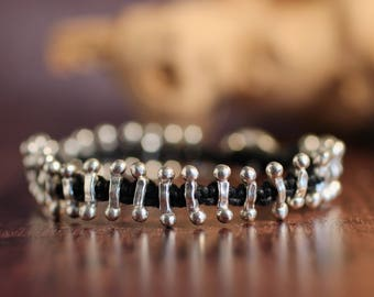 Silver Bracelet Artisan Bracelet Hill Tribe Bead Bracelet Macrame Bracelet Unisex For Her For Him Earthy Jewelry Organic Accessory Hipster