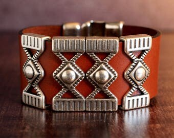 Ornate Silver Wide Leather Bracelet Riveted Hook Bracelet Mens Bracelet Statement Bracelet Silver Cuff Gift For Dad Man Him Jewelry Under 50