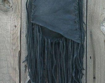 ON SALE Fringed leather handbag , Black leather purse , Fringed crossbody handbag , Leather handbag