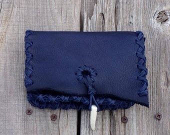ON SALE Blue leather clutch, card holder, leather phone bag , small wallet , multi purpose leather pouch