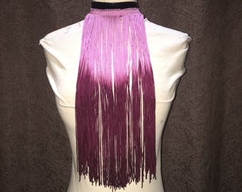 Ready to ship- Black choker with purple ombre fringe