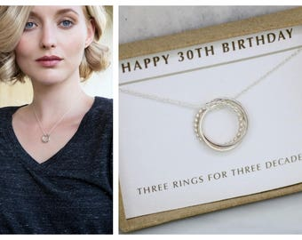 30th birthday gift, 3 linked circles necklace, dainty 3 rings necklace, gift for sister, girlfriend gift - Lilia