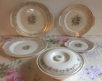 Homer Laughlin Rosalie Triumph Serving Platters & Covered Casserole / 6 Pieces Made in USA american Limoges